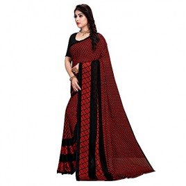 Kashvi Sarees Georgette Checks Printed Daily Wear Saree with Un-stitched Blouse for Women