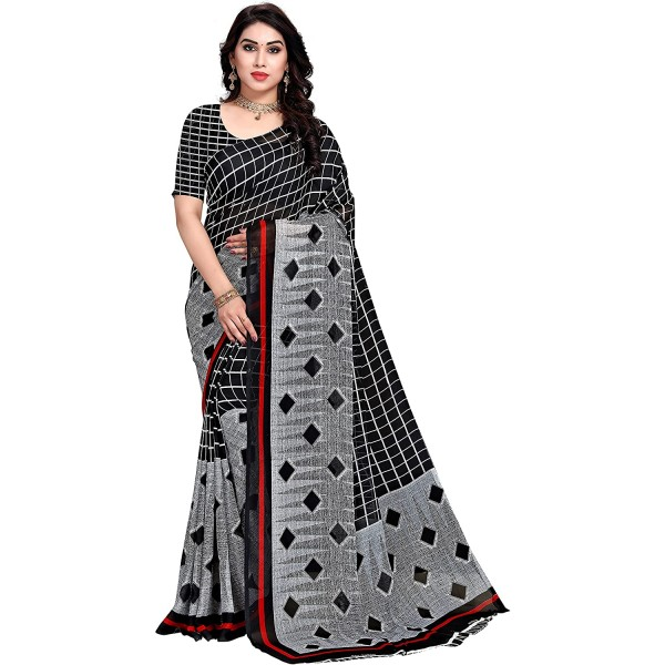 Kashvi Sarees Grey Georgette Checks Printed Saree with Un-stitched Blouse