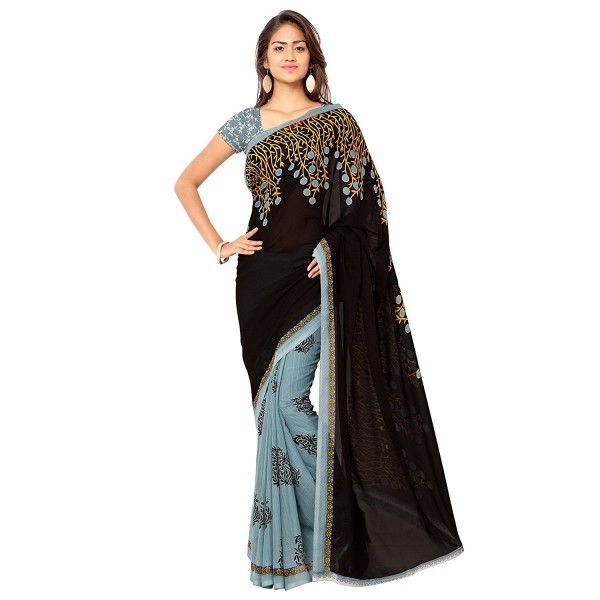 Exclusive Black and Grey Color Designer Floral Print Faux Georgette Saree