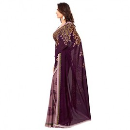 Kashvi Sarees Faux Georgette Purple Color Printed Saree With Blouse Piece ( 1108_3 )