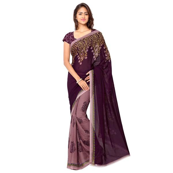 Kashvi Sarees Faux Georgette Purple Color Printed Saree With Blouse Piece ( 1108_3 )