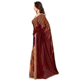 Kashvi Sarees Faux Georgette Maroon Color Printed Saree With Blouse Piece ( 1108_4 )