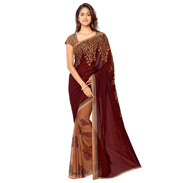 Kashvi Sarees Faux Georgette Maroon Color Printed Saree With Blouse Piece ( 1108_4 )