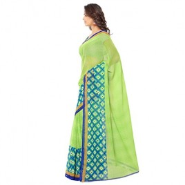 Kashvi Sarees Faux Georgette Green & Multi Color Printed Saree With Blouse Piece ( 1115_2 )