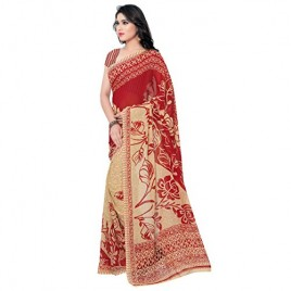 Kashvi Sarees Faux Georgette Red & Multi Color Printed Saree With Blouse Piece ( 1086_5 )