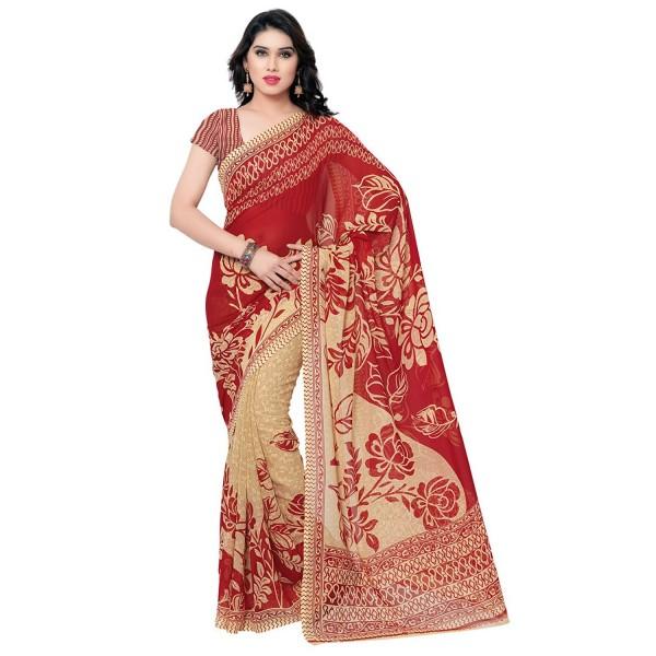 Kashvi Sarees Faux Georgette Red & Multi Color Printed Saree With Blouse Piece ( 1086_5 )