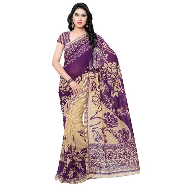 Kashvi Sarees Faux Georgette Purple Color Printed Saree With Blouse Piece ( 1086_6 )