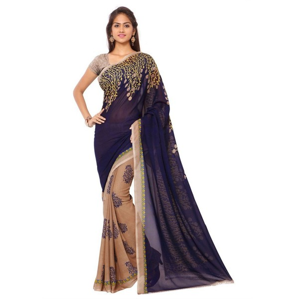Denim Blue Color Printed Faux Georgette Saree With Blouse Piece