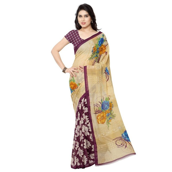 Kashvi Sarees Faux Georgette Maroon & Multi Color Printed Saree With Blouse Piece ( 2942_2 )