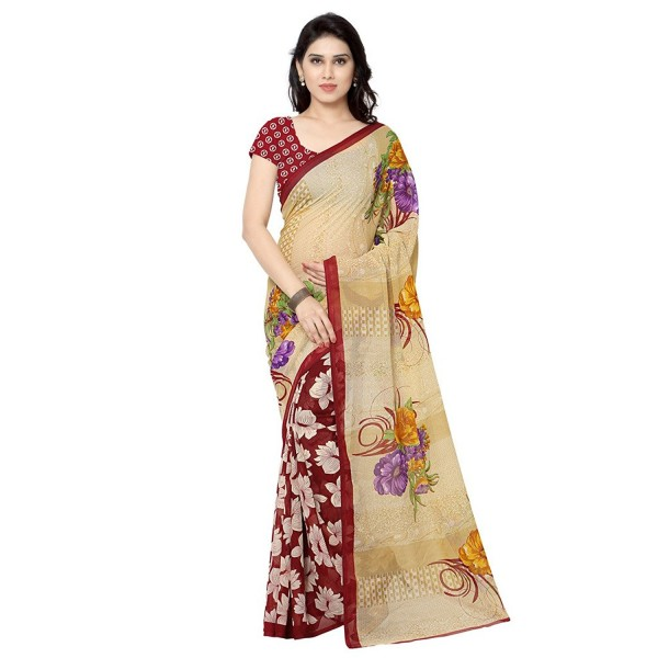Kashvi Sarees Faux Georgette Red & Multi Color Printed Saree With Blouse Piece ( 2942_4 )