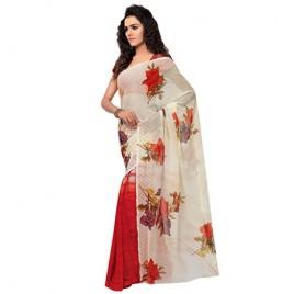 Kashvi Sarees Faux Georgette Red & Multi Color Printed Saree With Blouse Piece ( 1080 )