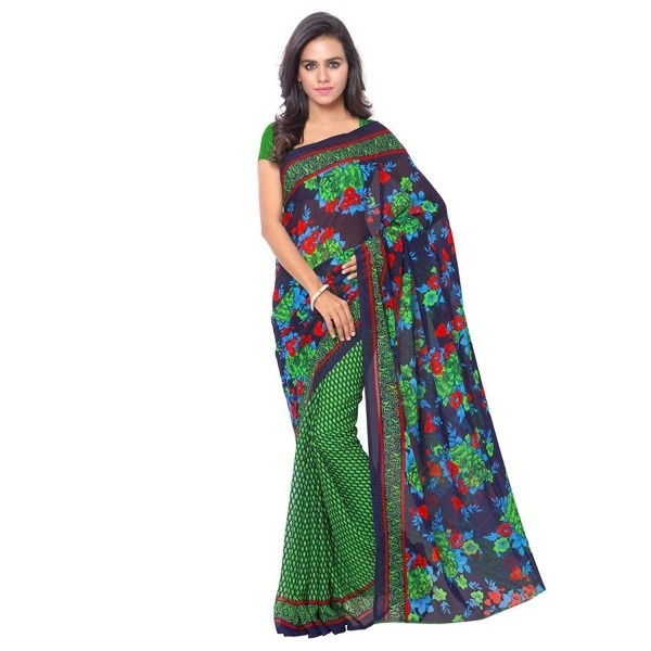 Kashvi Sarees Faux Georgette Green & Multi Color Printed Saree With Blouse Piece ( 1107_1 )
