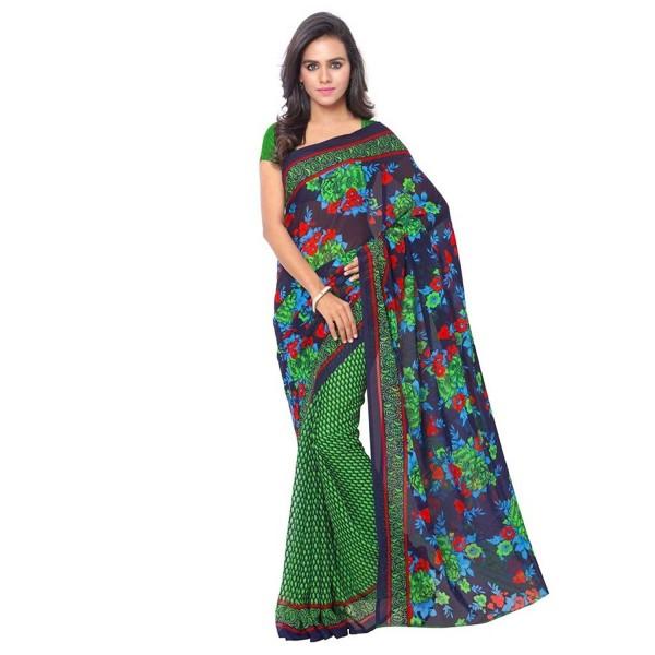 Kashvi Sarees Faux Georgette Green & Multi Color Printed Saree With Blouse Piece ( 1107_1 )