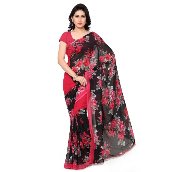 KASHVI SAREES FAUX GEORGETTE MULTI COLORED PRINTED SAREE WITH BLOUSE PIECE