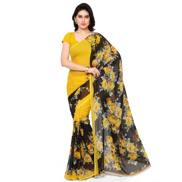 Kashvi Sarees Faux Georgette Yellow & Multi Color Printed Saree With Blouse Piece ( 1152_2 )