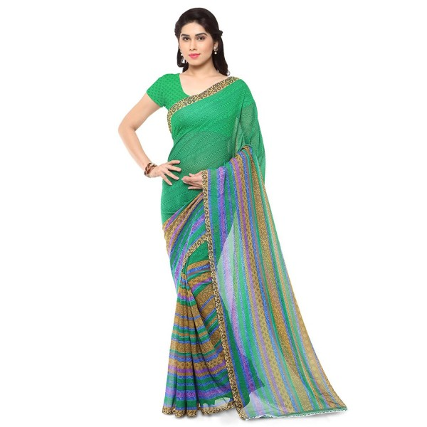 Kashvi Sarees Faux Georgette Green & Multi Color Printed Saree With Blouse Piece ( 1164_4 )