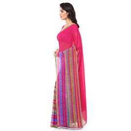 Kashvi Sarees Faux Georgette Pink & Multi Color Printed Saree With Blouse Piece ( 1164_3 )