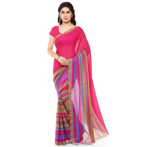 6c5e80fd8ca851 Kashvi Sarees Faux Georgette Pink   Multi Color Printed Saree With Blouse  Piece ( 1164 3 )