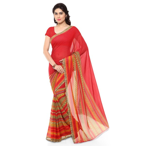Kashvi Sarees Faux Georgette Red & Multi Color Printed Saree With Blouse Piece ( 1164_1 )