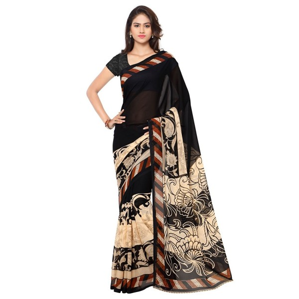 Glamorous Black and Cream Floral Printed Half-Half Faux Georgette Saree With Blouse Piece ( 1134_1 )