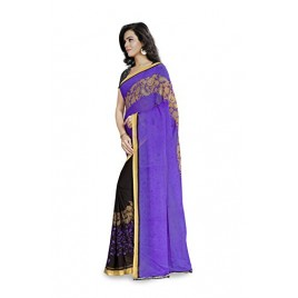 Kashvi Sarees Faux Georgette Purple & Multi Color Printed Saree With Blouse Piece ( 1190_4 )