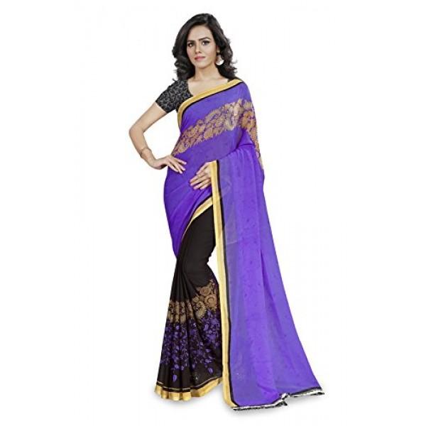 16653d722d7646 Kashvi Sarees Faux Georgette Purple   Multi Color Printed Saree With Blouse  Piece ( 1190 4 )