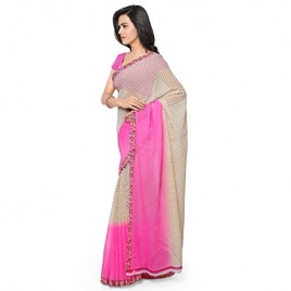 Kashvi Sarees Faux Georgette Pink & Multi Color Printed Saree With Blouse Piece ( 1194_3 )