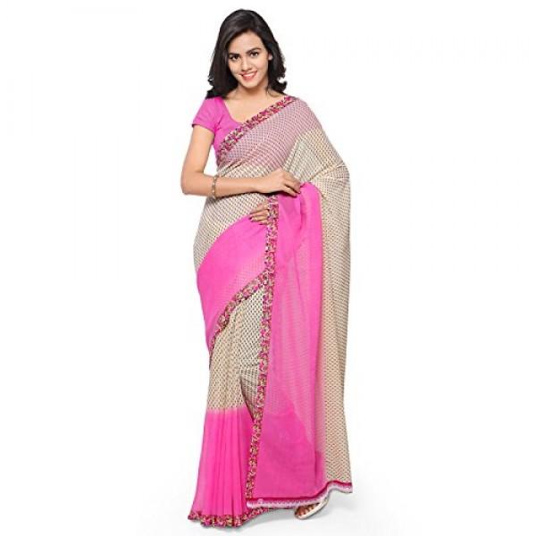 be488967e703d8 Kashvi Sarees Faux Georgette Pink   Multi Color Printed Saree With Blouse  Piece ( 1194 3 )