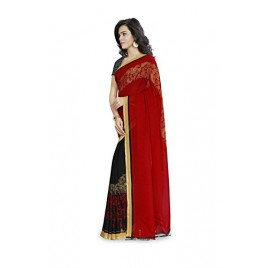 Kashvi Sarees Faux Georgette Red & Multi Color Printed Saree With Blouse Piece ( 1190_3 )