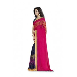 Kashvi Sarees Faux Georgette Pink & Multi Color Printed Saree With Blouse Piece ( 1190_1 )