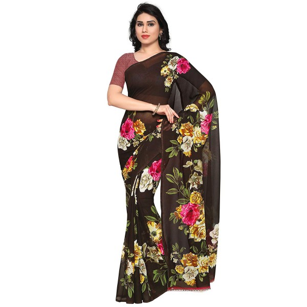 Kashvi sarees georgette with blouse piece Saree (1052_2_ Multicoloured_ One Size)