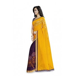 Kashvi Sarees Faux Georgette Yellow & Multi Color Printed Saree With Blouse Piece ( 1190_2 )