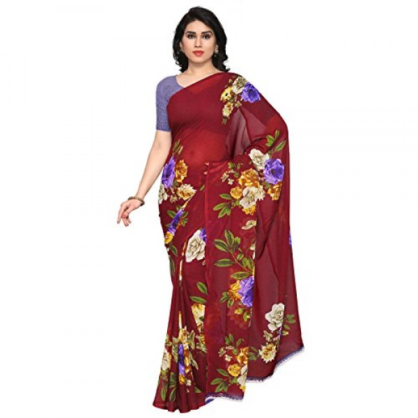 Kashvi Sarees Faux Georgette Red & Multi Color Printed Saree With Blouse Piece ( 1052_3 )