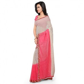 Kashvi Sarees Faux Georgette Pink & Multi Color Printed Saree With Blouse Piece ( 1194_1 )