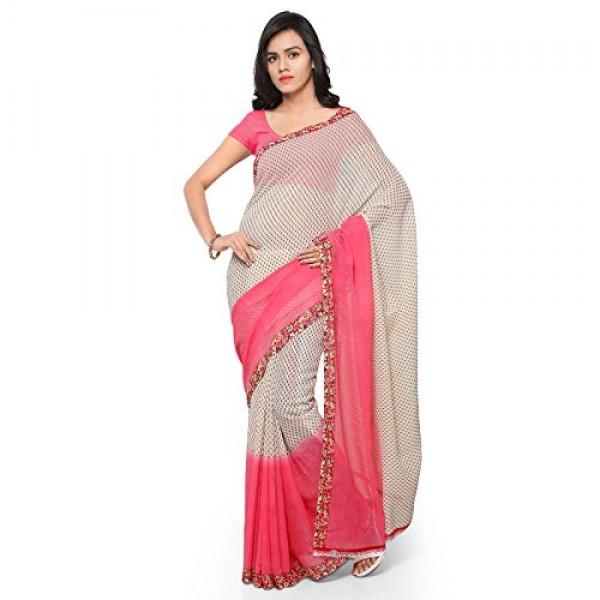 Kashvi Sarees Faux Georgette Pink & Multi Color Printed Saree With Blouse Piece ( 1194_1 )
