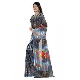 Kashvi Sarees Faux Georgette Printed Blue Color With blouse piece ( 1285 )