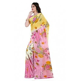 Passionate Pink Floral Printed  Faux Georgette Saree With Blouse Piece