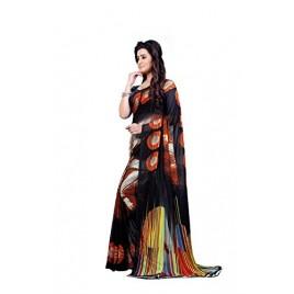 Kashvi sarees Faux Georgette Printed Black Color With blouse piece ( 1349 )