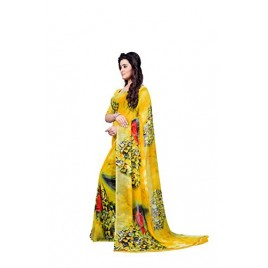 Kashvi sarees Women's Faux Georgette Saree With Blouse Piece (MNP_1339 _Yellow_ Free Size)