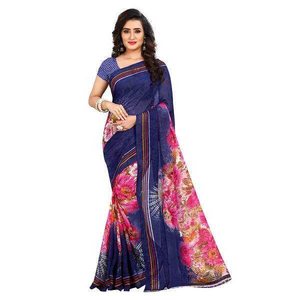 Kashvi Sarees Faux Georgette Printed Blue Color With blouse Piece (1412)