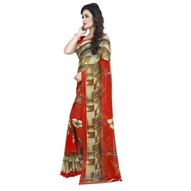 Kashvi Sarees Faux Georgette Printed Red Color With blouse Piece (1402)