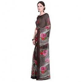 Kashvi Sarees Faux Georgette Red & Multi Color Printed Saree With Blouse Piece