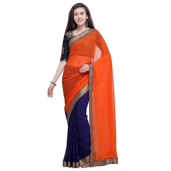 Kashvi Sarees Chiffon Half N Half Saree With Jacquard Unstitched Blouse Piece 1465