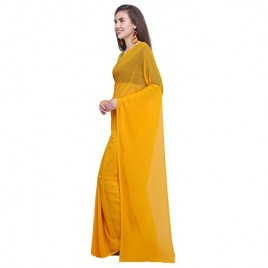 Kashvi Sarees Georgette Solid Plain Saree With Unstitched Blouse Piece 1466