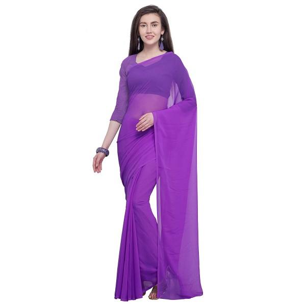 2f0336bc81 Kashvi Sarees Georgette Solid Plain Saree With Unstitched Blouse Piece 1466