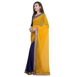 Kashvi Sarees Chiffon Half N Half Saree With Jacquard Unstitched Blouse Piece 1465