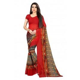 Kashvi Sarees Red Color Faux Georgette Saree With Unstitched Red Color Blouse Piece (1471)