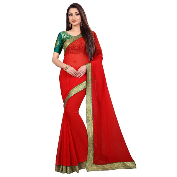 Kashvi Sarees Chiffon Solid Plain Saree With Lace Border And Unstitched Green Color Jacquard Blouse Piece 1468