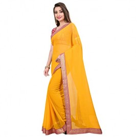 Kashvi Sarees Chiffon Solid Plain Saree With Lace Border And Unstitched Pink Color Jacquard Blouse Piece 1467