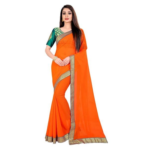 Kashvi Sarees Chiffon Solid Plain Saree With Lace Border And Unstitched Green Color Jacquard Blouse Piece 1468
